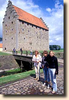 Vibeke and Lalou in front of the old castle Glimmingehus in Sweden - once owned by Vibeke's 10th great-grandfather